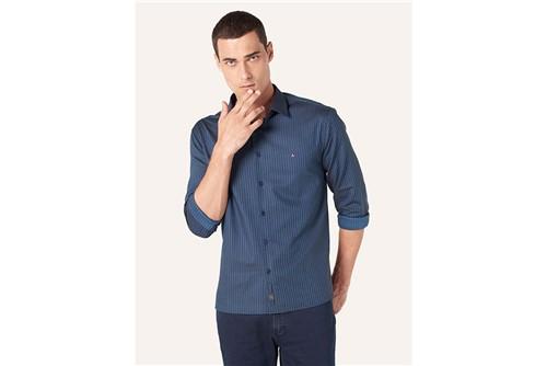 Camisa Slim Night Jacquard - Azul - P