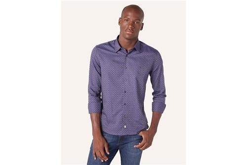 Camisa Slim Night Jacquard - Roxo - P