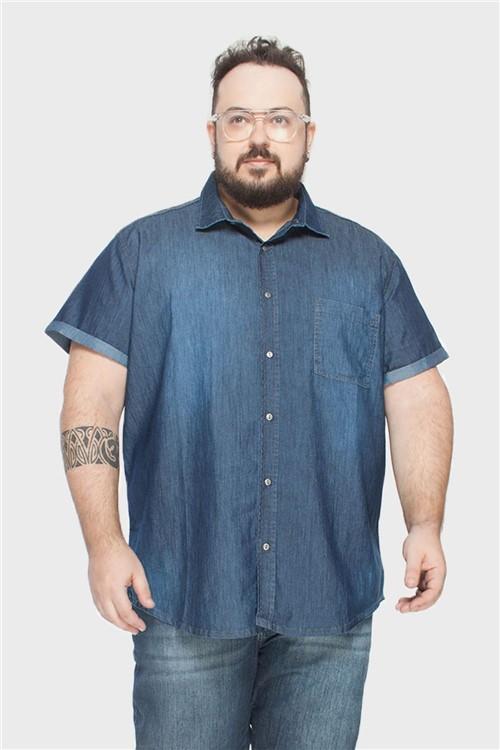 Camisa Slim Plus Size Azul-48/50