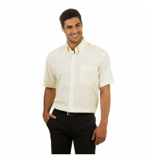 Camisa Social Masculina Amarela Lisa - 1