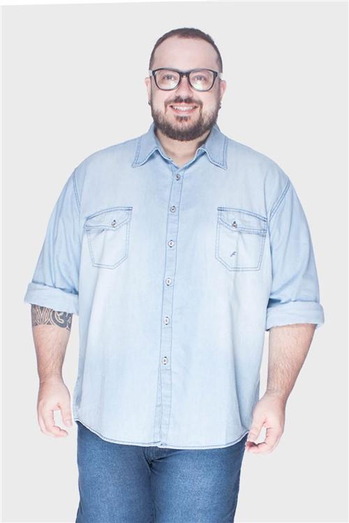 Camisa Stone Plus Size Azul-52