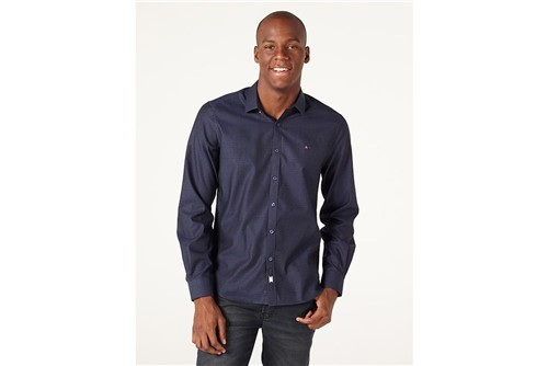Camisa Super Night Jacquard Square - Marinho - M