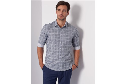 Camisa Super Slim Menswear Textura - Azul - XGG