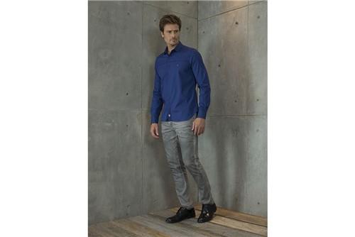 Camisa Super Slim Night Bordado Frente - Azul - GG