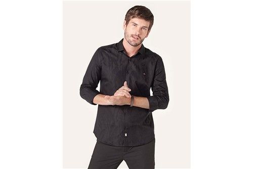 Camisa Super Slim Night Jacquard Noir - Preto - P