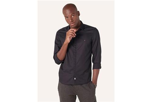 Camisa Super Slim Night Jacquard - Preto - P