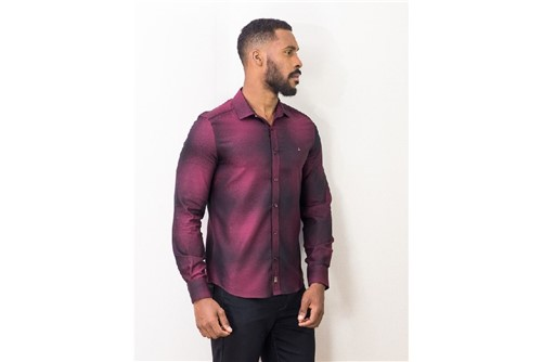 Camisa Super Slim Night Manchado Escuro - Vinho - M