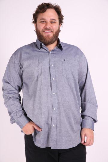 Camisa Tricoline Plus Size Cinza 6