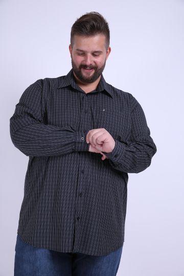 Camisa Tricoline Xadrez Fio Tinto Plus Size Preto 7