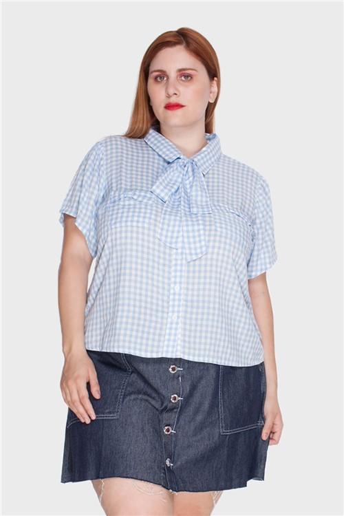 Camisa Vichy Plus Size Azul-52