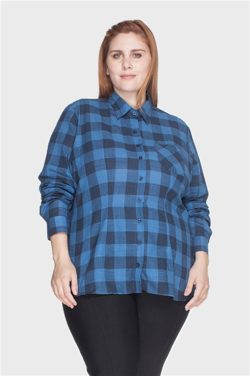 Camisa Xadrez 100% Algodão Plus Size Marinho-48