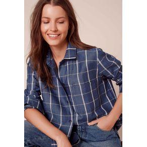 Camisa Xadrez Alfaiataria Azul Indigo Xadrez - 36