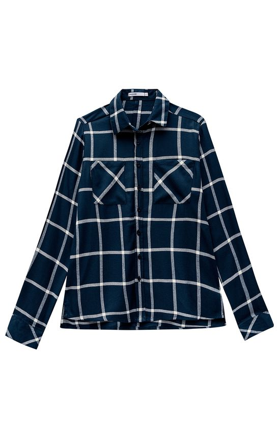 Camisa Xadrez Flanela Malwee Azul Escuro - M