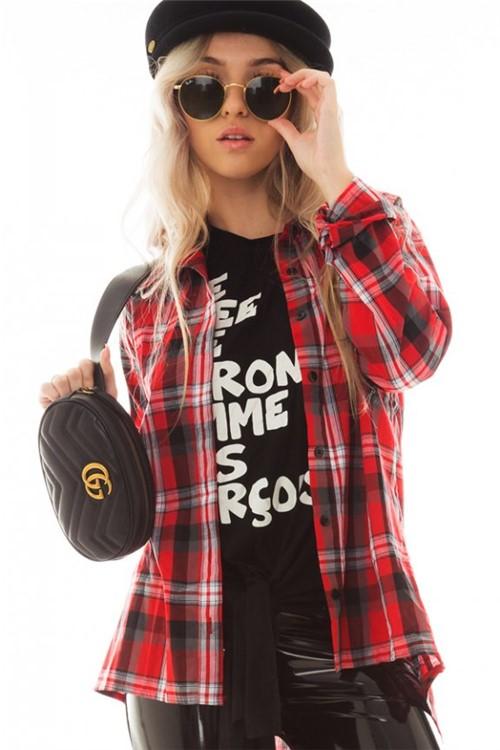 Camisa Xadrez Manga Longa com Bolso CA0216 - Kam Bess