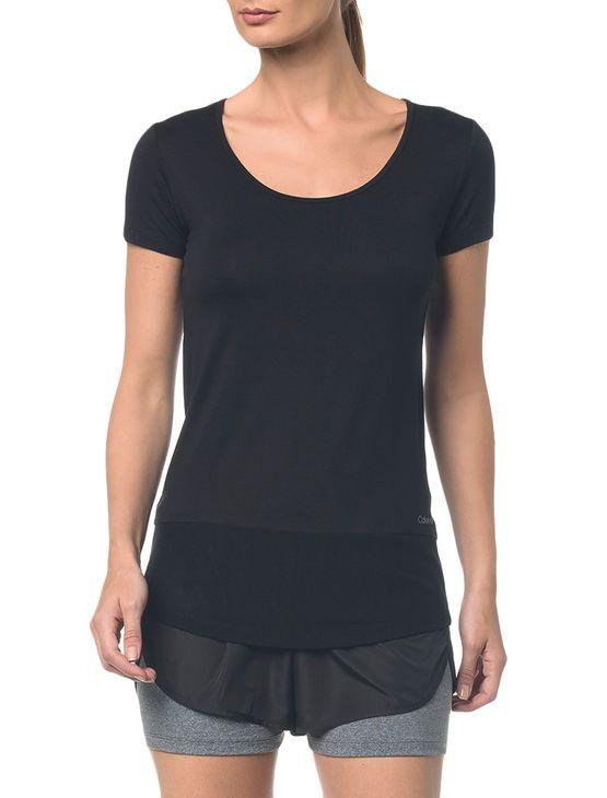 Camiseta Athletic Ck Recorte Tule Barra - Preto - Pp
