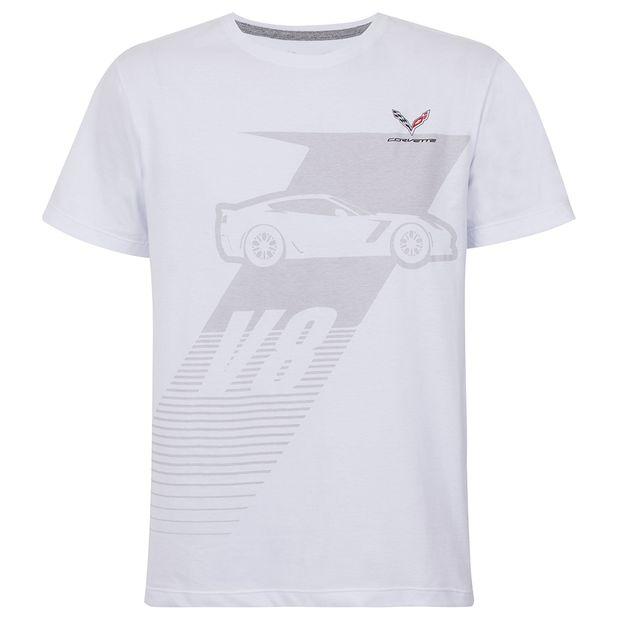 Camiseta Basic V8 Masculino Corvette Gm Branco P 11059