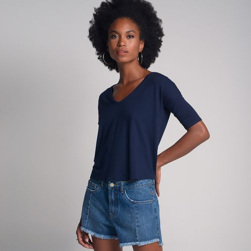 Camiseta Básica Ampla Azul Marinho - M