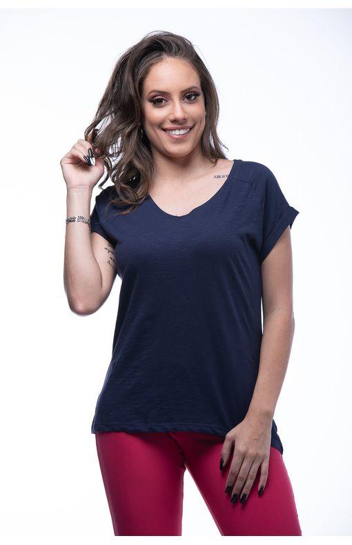 Camiseta Básica Decote V CAMISETA BASICA DECOTE V-MARINHO - P