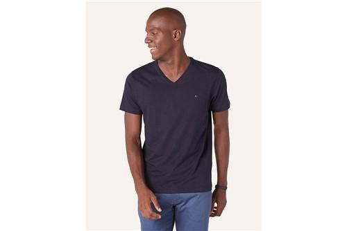 Camiseta Básica Gola V - Marinho - P