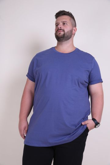 Camiseta Básica Plus Size Azul EX