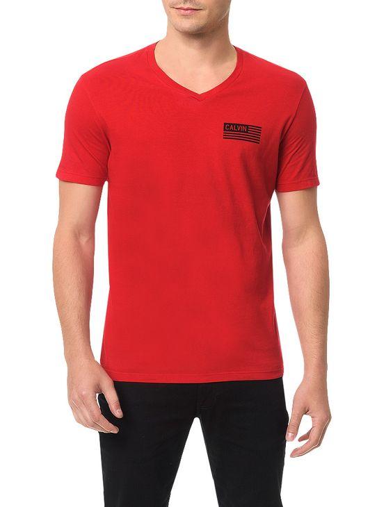 Camiseta Calvin Klein Jeans Estampa Bandeira Calvin Vermelho - XGG
