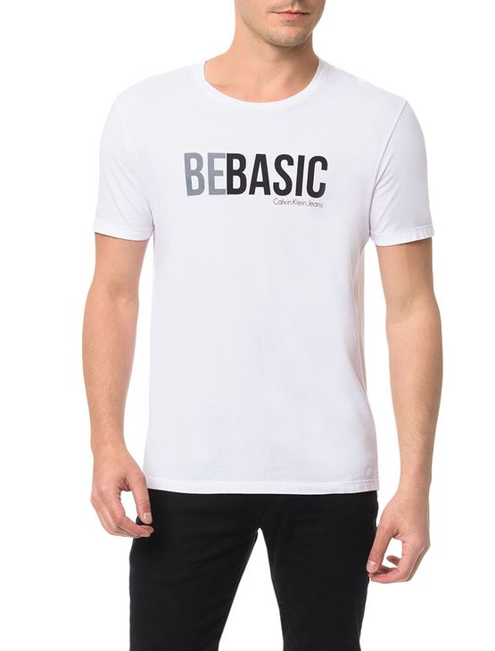 Camiseta Calvin Klein Jeans Estampa Be Basic Branco - PP