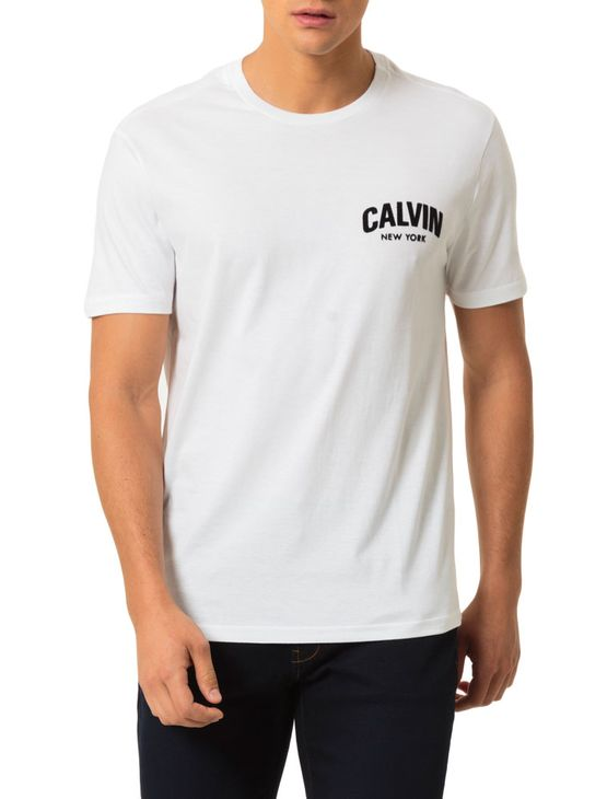 Camiseta Calvin Klein Jeans Estampa Calvin Floco Branco - GG