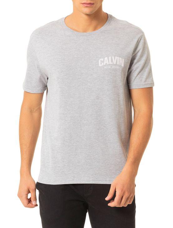 Camiseta Calvin Klein Jeans Estampa Calvin Floco Mescla - PP