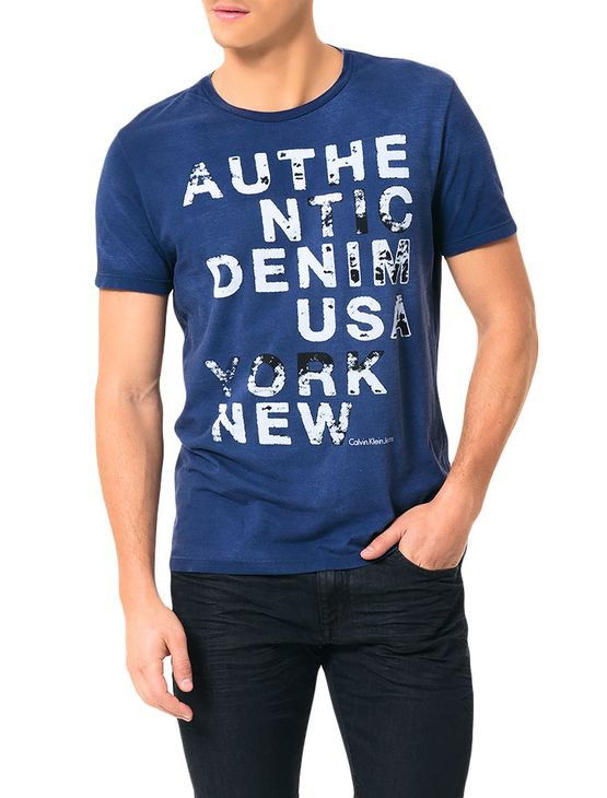 Camiseta Calvin Klein Jeans Estampa Denim Usa Índigo - PP