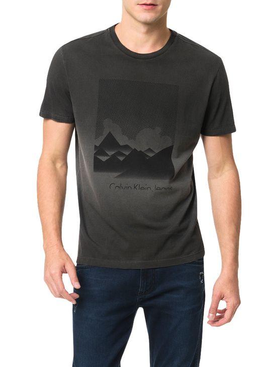 Camiseta Calvin Klein Jeans Estampa Montanhas Cinza Grafite - XGG