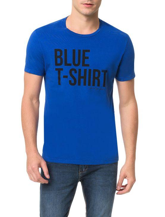 Camiseta Calvin Klein Jeans Estampa White T-Shirt Azul Carbono - P