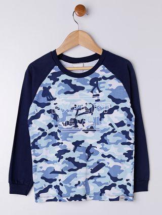 Camiseta Camuflada Manga Longa Infantil para Menino - Azul