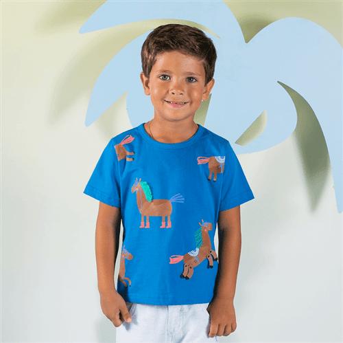 Camiseta Cavalinho Valente Azul Forte/6 e 7