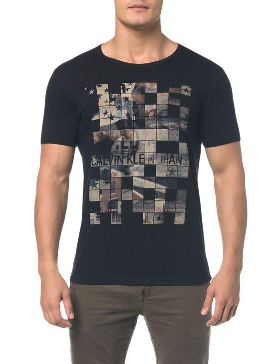 Camiseta Ckj Mc Est Band. Quadriculada Preto Camiseta Ckj Mc Est Band. Quadriculada - Preto - PP