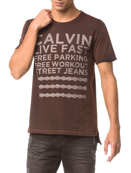 Camiseta Ckj Mc Estampa Calvin Live Fast - Vermelho - Pp