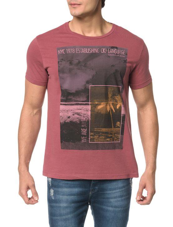 Camiseta Ckj Mc Estampa Praia Quadrados - M