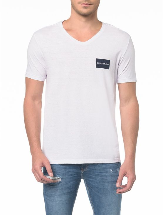 Camiseta Ckj Mc Estampa Quadrado Peito - M