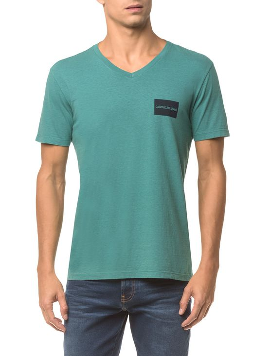 Camiseta Ckj Mc Estampa Quadrado Peito - Verde - P