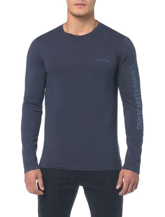 Camiseta Ckj Ml Est Logo Peito e Manga - Cinza Azulado - PP