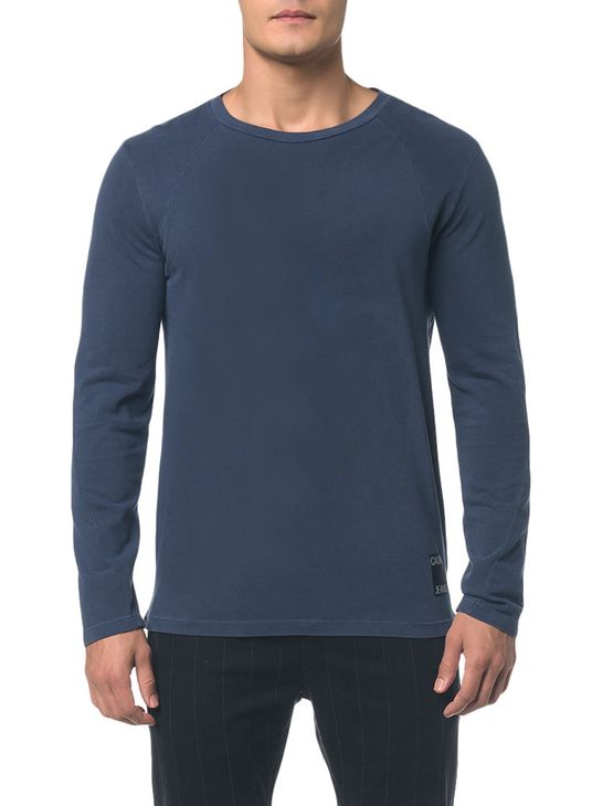 Camiseta Ckj Ml Etiqueta Barra - Cinza Azulado - PP
