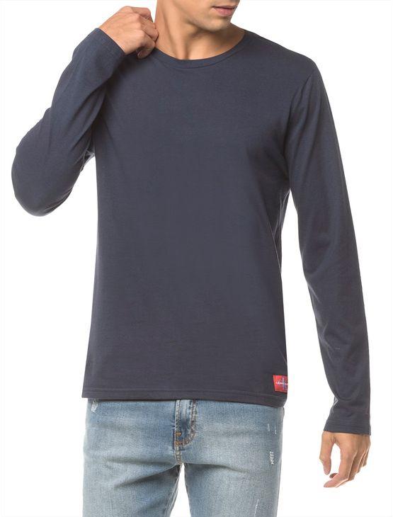 Camiseta Ckj Ml Etiqueta Barra - Marinho - GGG