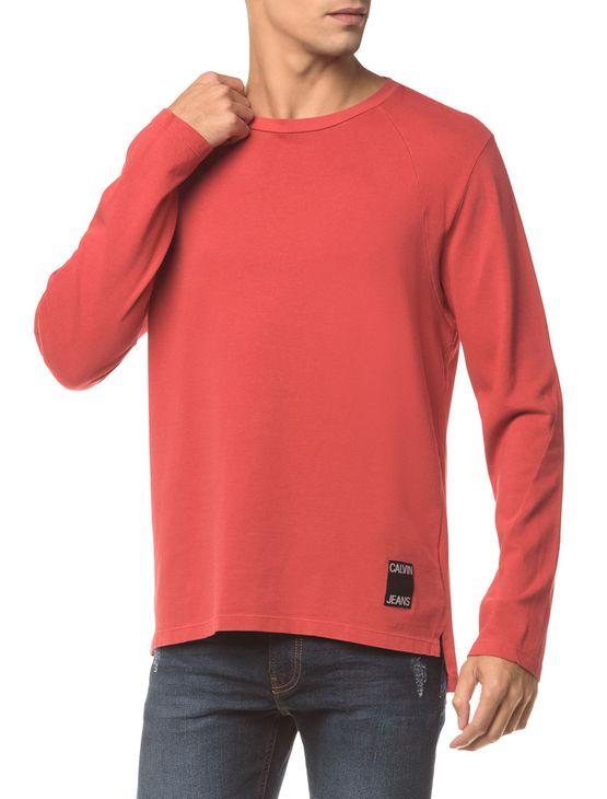 Camiseta Ckj Ml Etiqueta Barra - Vermelho - GGG