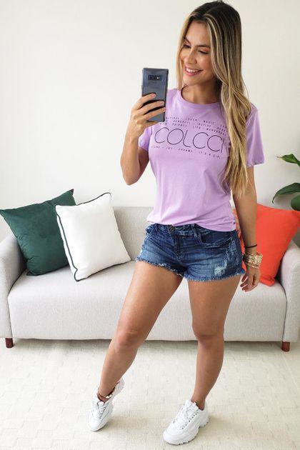 Camiseta Colcci Estampada Vibes - Lilás