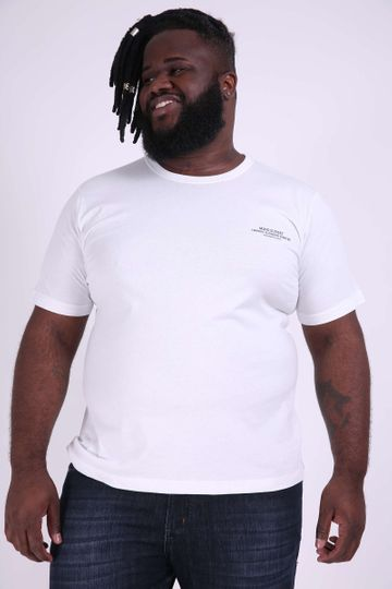 Camiseta Estampa Frente e Costas Plus Size Off White P