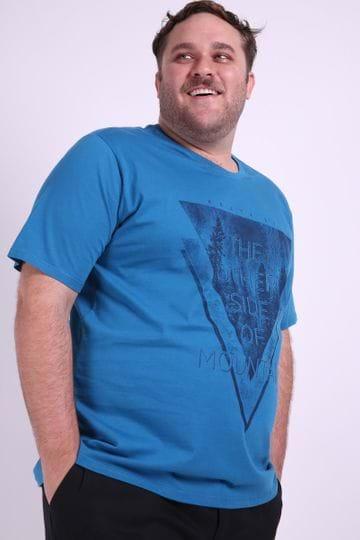 Camiseta Silk Masculina Plus Size Azul EX