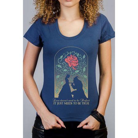 Camiseta Feminina a Bela e a Fera Azul P