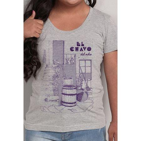 Camiseta Feminina El Chavo Cinza P