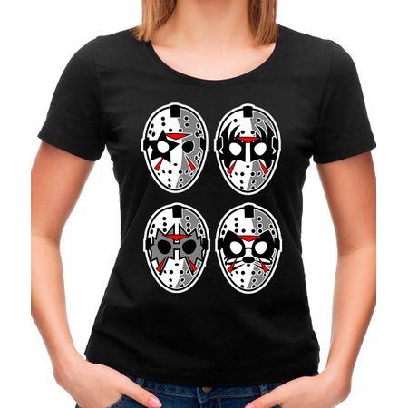 Camiseta Feminina Jason Rock Faces P - PRETO