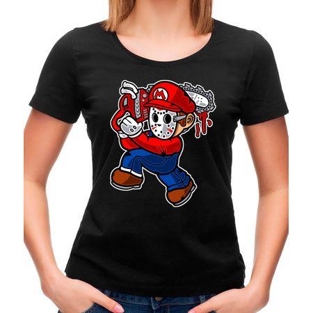 Camiseta Feminina Mario Massacre P - PRETO