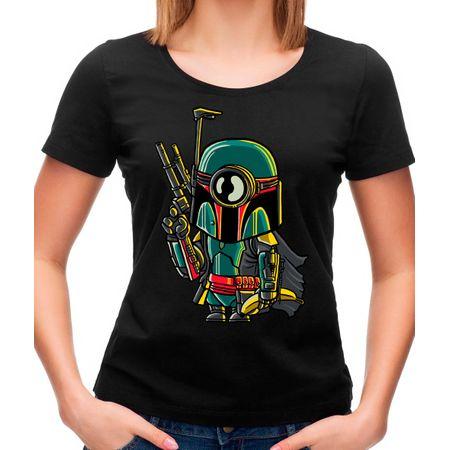 Camiseta Feminina Minion Boba Fett P - PRETO